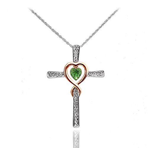 Xingzou Women Cross Pendant Necklace Infinity and Love,Green Heart Crystals,Best Gift Jewelry