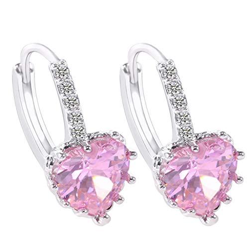 Nihewoo Womens Sliver Plated Clip on Earrings Cubic Zirconia Stud Earrings Heart-Shaped EarringsDangle Earrings Wedding Prom (Pink) - Leverback Pattern Earrings