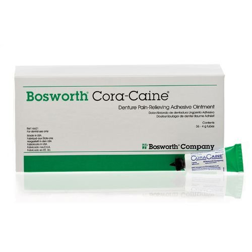 Bosworth 16621 Cora-Caine Denture Adhesive Ointment, 36-4 gm Tubes