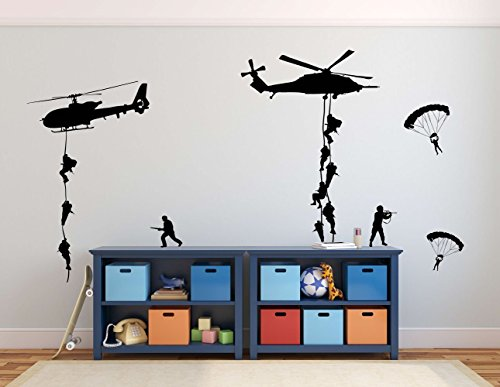 Army Wall Decals, Soldiers Parachuting From Helicopters for Kids Playroom, Children, Military (Soldiers Outfit)