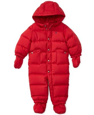Ralph Lauren Baby Boys Quilted Down Snowsuit with Hood (Color: Jewel Red) (9 Months)