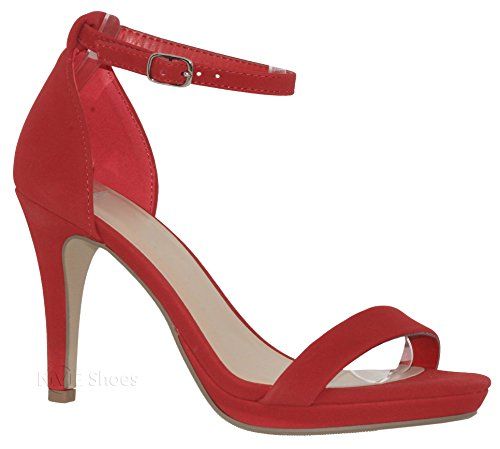 MVE Shoes Women's Open Toe Ankle Strap High Heels-Stiletto Dress Pumps - Single Band Sexy Party Shoes, Lips nb Size 7