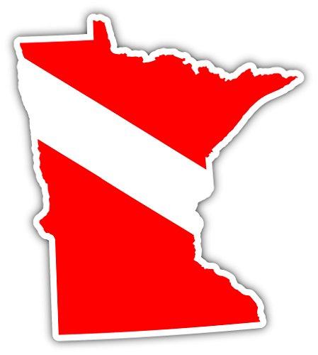 (Minnesota State Shaped Scuba Diver Scuba Diving Dive Down Flag Bumper Sticker Decal Car Window Stickers 4x5)