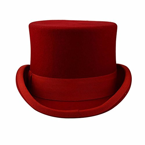 BUYITNOW Premium Wool Victorian Steampunk Mad Hatter Top Hat for Costumes Red