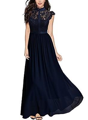 Miusol Women's Formal Floral Lace Cap Sleeve Evening Party Maxi Dress