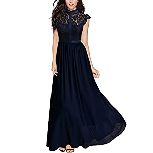 b4c12e1f808b Miusol Women's Formal Floral Lace Cap Sleeve Evening Party Maxi Dress ...