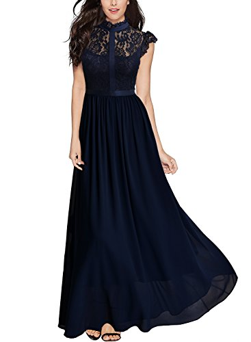 Miusol Women#039s Formal Floral Lace Cap Sleeve Evening Party Maxi DressAnavy BlueLarge