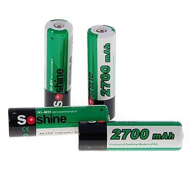 QINF Soshine 2700mAh Ni-MH Rechargeable AA Batteries with Case (4 PCS/Set)
