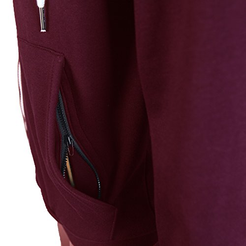 Delight Men's Fashion Fit Full-Zip Hoodie With Inner Cell Phone Pocket (US XX-Large, Burgundy)
