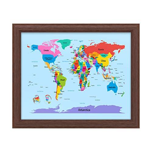 Trademark Fine Art Childrens World Map by Michael Tompsett, Wood Frame 16x20, Multi-Color