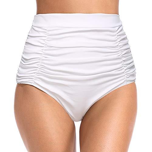(YOFIT Women's Retro High Waisted Bikini Bottom Ruched Tummy Control Swim Shorts Tankinis White XL)