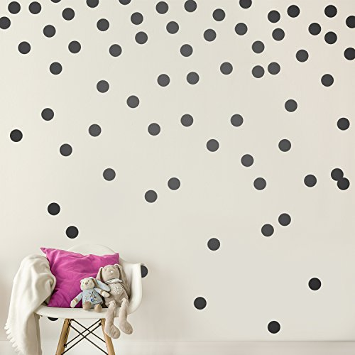 Black Wall Decal Dots (200 Decals) | Easy Peel & Stick + Safe on Walls Paint | Removable Matte Vinyl Polka Dot Decor | Round Circle Art Glitter Sayings Sticker Large Paper Sheet Set for Nursery Room