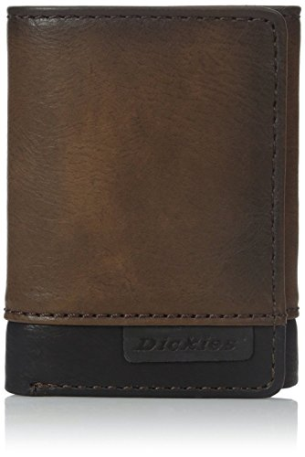 Dickies Men's Chains Leather Wallet - Security Trifold Truckers ID Window with Pockets for Credit Cards,Brown Two Tone Baseball Tri Fold Wallet
