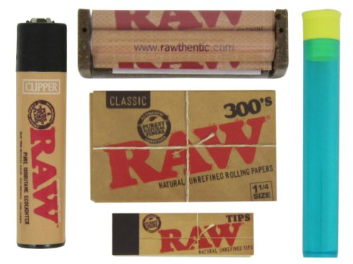 Price comparison product image Bundle - 5 Items - RAW 1 1/4 300's, 79mm Roller, Raw Tips, Raw Lighter and RPD Doob Tube