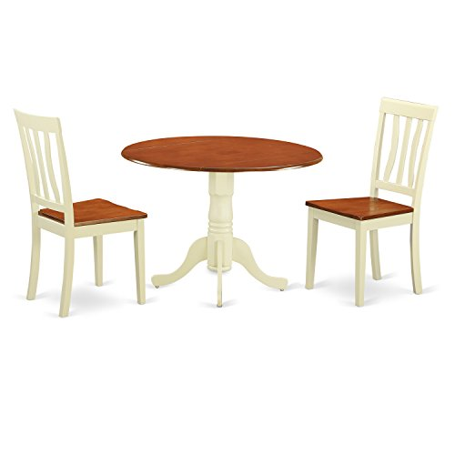 East West Furniture DLAN3-BMK-W 3 Piece with 2 Solid Wood Chairs Dublin Dining Set, Buttermilk Finish