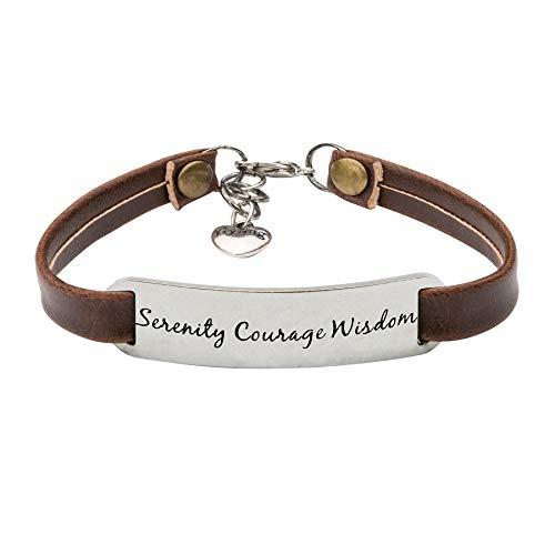Mothers Prayer Bracelet - UNQJRY Serenity Prayer Bracelet Religious Gifts for Women Leather Bangles Serenity Courage Wisdom