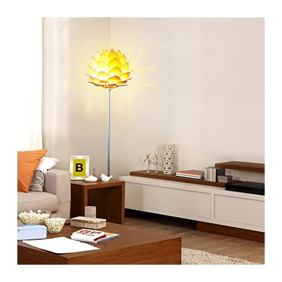 Brightech Artichoke LED Floor Lamp- Unique Contemporary Standing Light for Living Room, Bedrooms- Modern Multi-Panel Style Wooden Shade – Tall Pole Uplight Lamp - UPRIGHT LAMP FOR CONTEMPORARY DECOR: The Artichoke LED Floor Lamp has a stunning sculptural design that will upgrade your space in a unique and creative way. It pairs well with modern, mid-century, Scandinavian, and Asian style décor. The pole has a white finish, which helps provide a clean, sleek look and fits perfectly with the inviting tone of the warm white LED light the bulb emits. ALEXA & GOOGLE HOME COMPATIBLE WARM READING LIGHT FOR HOME OR OFFICE: Works with smart outlets that are Alexa, Google Home Assistant, or Apple HomeKit enabled, to turn on/off. (Requires smart outlet sold separately.) The Artichoke Lamp gives off warm, cozy light without producing a harsh glare and creates a comfortable space beside your book chair; it's a great alternative to unpleasant overhead lights. FITS EASILY NEXT TO A SIDE TABLE, BED, DESK, OR COUCH: This lamp is lightweight, weighs only 12.5 pounds, and reaches just over five and a half feet tall, so that it is easy to move around to where light is needed most in your room. Its slender design makes it easy to place near love seats, sofas, armchairs, side tables, and desks. The lamp has a weighted base that prevents tipping, and the convenient to use on/off pedal switch allows you to easily tap the lamp on or off with your foot. - living-room-decor, living-room, floor-lamps - 41jSlYaACzL. SS570  -