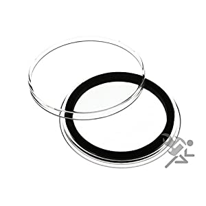 """25 Air-Tite """"I"""" Black Ring Coin Holders for 40mm Coins"""