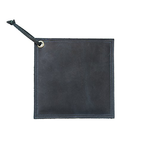 Hide & Drink Leather Hot Pot Pad (Potholder), Double Layered, Double Stitched and Handmade Slate Blue ()