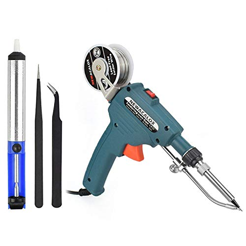 Soldering Gun, Automatic 60W Electronics Solder Iron Gun Kit, Soldering Tools with Desoldering Pump, Tweezers, Soldering Wires, for Jewelry, Home DIY, Circuit Board Repair ()