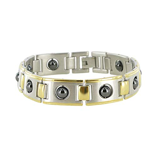 - Gem Avenue Two Tone Magnetic Link Simulated Hematite Therapy Bracelet 8.5
