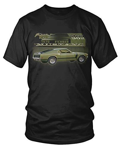 Amdesco Men's 1970 Ford Mustang BOSS 302 T-Shirt, Black Medium
