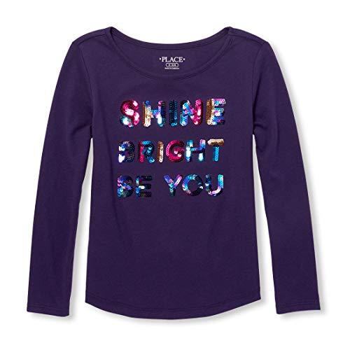 Empire Girls Shirt - The Children's Place Girls' Big Long Sleeve Graphic Tops, Empire Purple S (5/6)