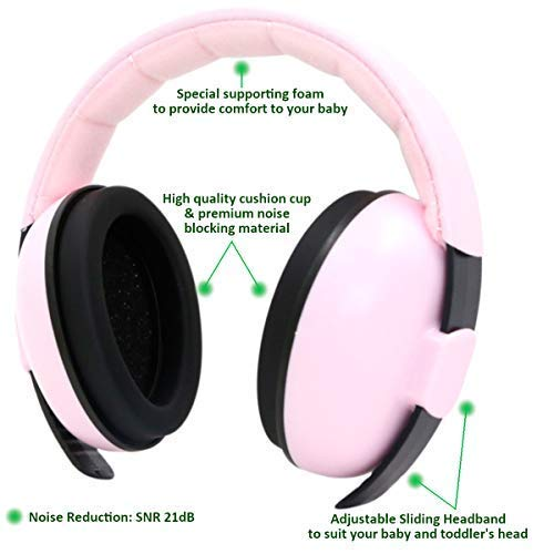 Baby Noise Cancelling Headphones for Kids - Baby Ear Protection for Airplane Concerts Fireworks & Loud Noises - Hearing Protection Ear Muffs for Kids, Pink