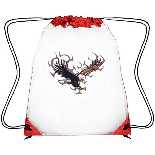 Zhdashaiff Drawstring Clear Bags The Flying Eagle with Shadow Printing PVC Adjustable Strap Travel Clear Backpack