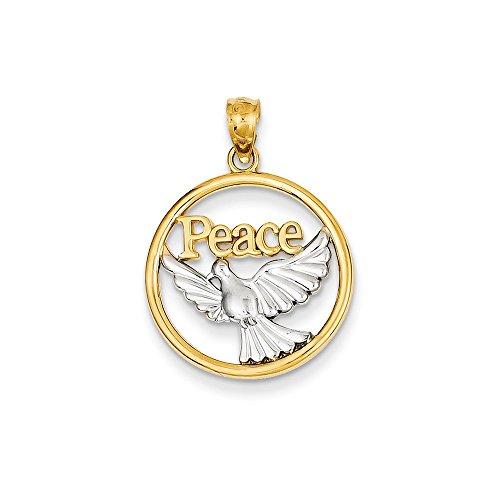 - 14k Two Tone Gold Peace Dove Charm Pendant