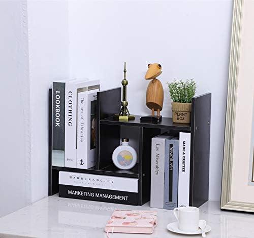 Desktop Bookshelf Adjustable Wood Storage Organizer,...