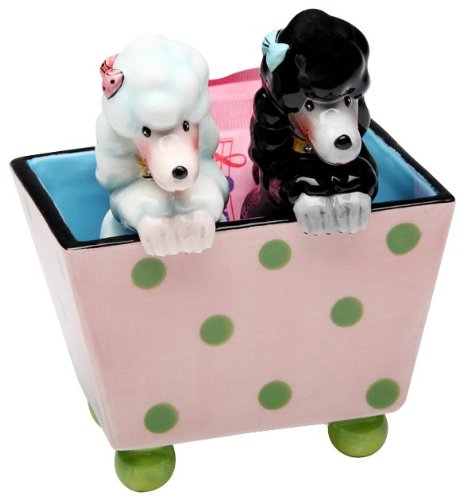 ATD 61996 4 3/8 Black/White Poodles in Polka Dot Box Salt and Pepper Shaker Set