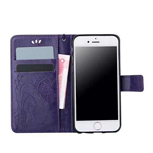 Voguecase® für Apple iPhone SE hülle, Kunstleder Tasche PU Schutzhülle Tasche Leder Brieftasche Hülle Case Cover (Schmetterlinge 2-Lila) + Gratis Universal Eingabestift