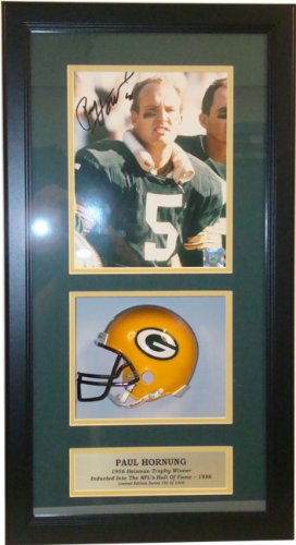 Encore Select 641-Hornung Paul Hornung Autographed Photograph with an 8 x 10 in. Photograph & Miniature Helmet in a 14 x 20 in. Deluxe Frame Shadow Box from Encore