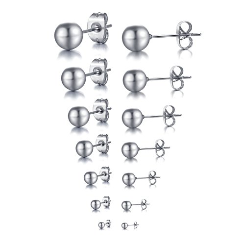 Areke Mens Stainless Steel Round Ball Stud Earrings Womens Unisex Jewelry Collection 2-8mm(7 Pairs) Color (Homemade Indian Boy Costumes)
