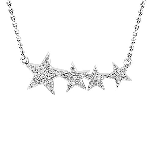 Dazzlingrock Collection 0.35 Carat (ctw) 10K Round Diamond Ladies Shooting Star Pendant (Silver Chain Included) 1/3 CT, White Gold