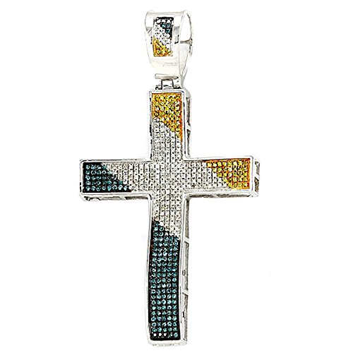 0.75 Carat (ctw) Sterling Silver Blue,White & Yellow Diamond Mens Hip Hop Religious Cross Pendant by DazzlingRock Collection