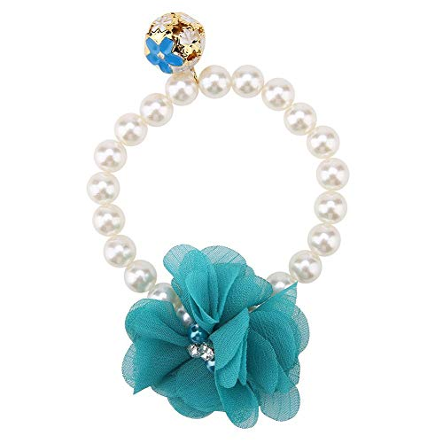TOPINCN Dog Pet Necklace Elastic Adjustable Stylish Simulation Pearl Flower Collar for Cat Puppy Jewelry Accessory Theme Party Costume(Blue) -