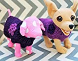 Hand Knit Teeny Tiny Dog/Puppy/Kitten Sweater Purple with Crochet Flower XXXS/XXS 1 to 2 lbs for Teacup/Toy Breed Puppy Newborn to 2 Pounds