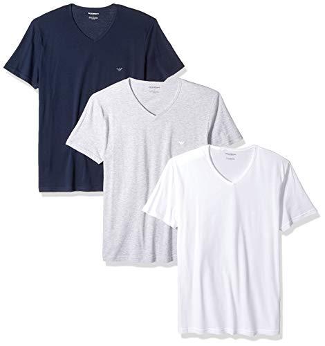 Emporio Armani Men's Cotton V-Neck Undershirts, 3-Pack, Grey/White/Navy, -
