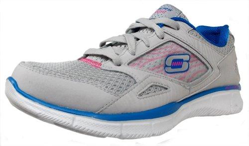 Skechers - Zapatillas de material sintético para mujer gris Charcoal/Light Blue