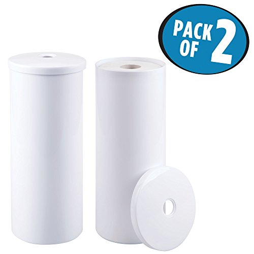 mDesign Free-Standing Toilet Paper Roll Canister for Bathroom - Pack of 2, White by mDesign