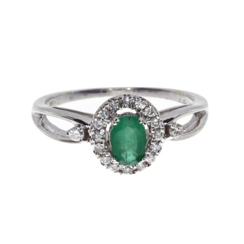 White Gold 6x4mm Oval Emerald - 9