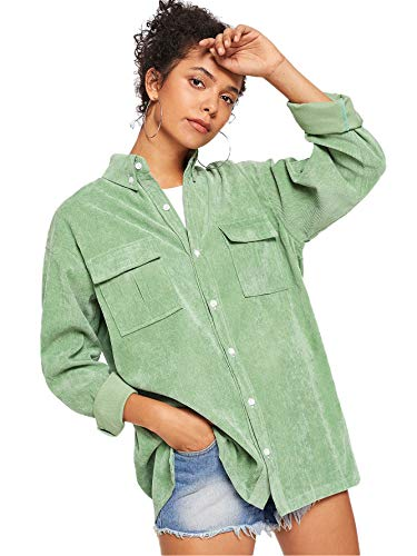 Corduroy Women Jacket - ROMWE Women's Collar Button Down Roll up Long Sleeve Casual Jacket Outwear with Front Pockets Light Green Small