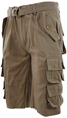 Mens Premium Cargo Shorts with Belt (8 Pockets 32-44 Size) (40, (Khaki Long Shorts)
