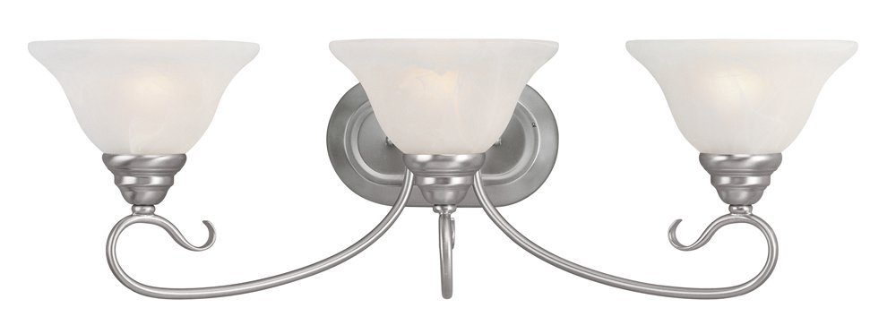 Livex Lighting 6103-91 Coronado 3 Light Brushed Nickel Vanity with White Alabaster Glass