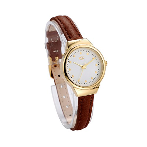 GEORGE SMITH 28 mm Unique Waterproof Women Wrist Watch with Slim Genuine Leather Band Refined Sober Hands Brown Black White Bands Gift