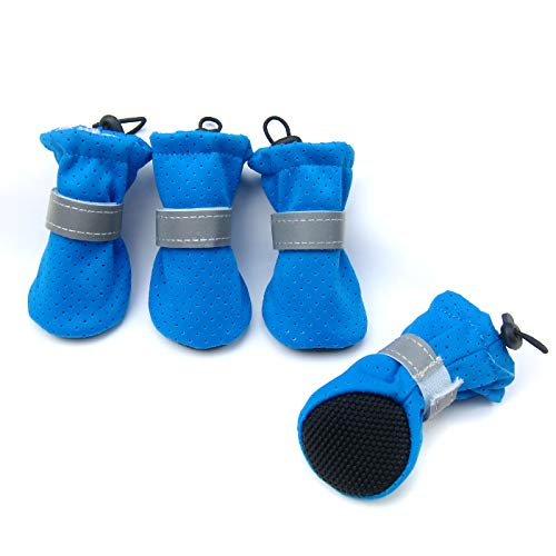 Dog Boots Designer (Alfie Pet by Petoga Couture - Darian All Weather Set of 4 Dog Boots - Color: Blue, Size: Medium)