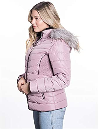 BodiLove Womens Winter Quilted Puffer Short Coat Jacket with Removable Faux Fur Hood and Zipper