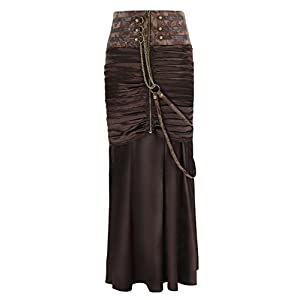 Charmian Women's Steampunk Gothic Victorian Ruffled Satin High Waisted Skirts